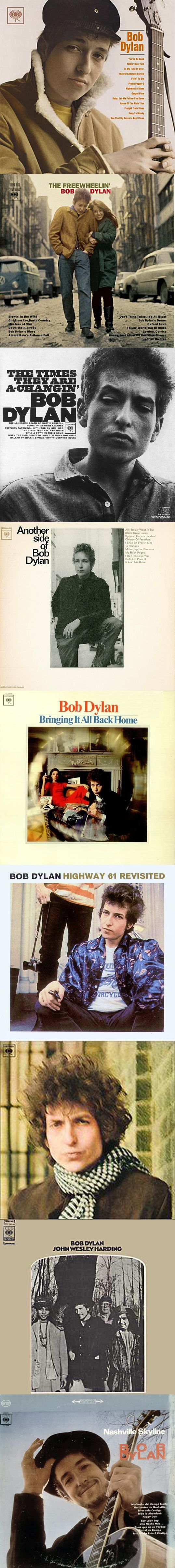 How Many '60s Bob Dylan Albums Can You Name? - The correct answer: Bob Dylan, The Freewheelin' Bob Dylan, The Times They Are a-Changin', Another Side of Bob Dylan, Bringing It All Back Home, Highway 61 Revisited, Blonde on Blonde, John Wesley Harding, Nashville Skyline.