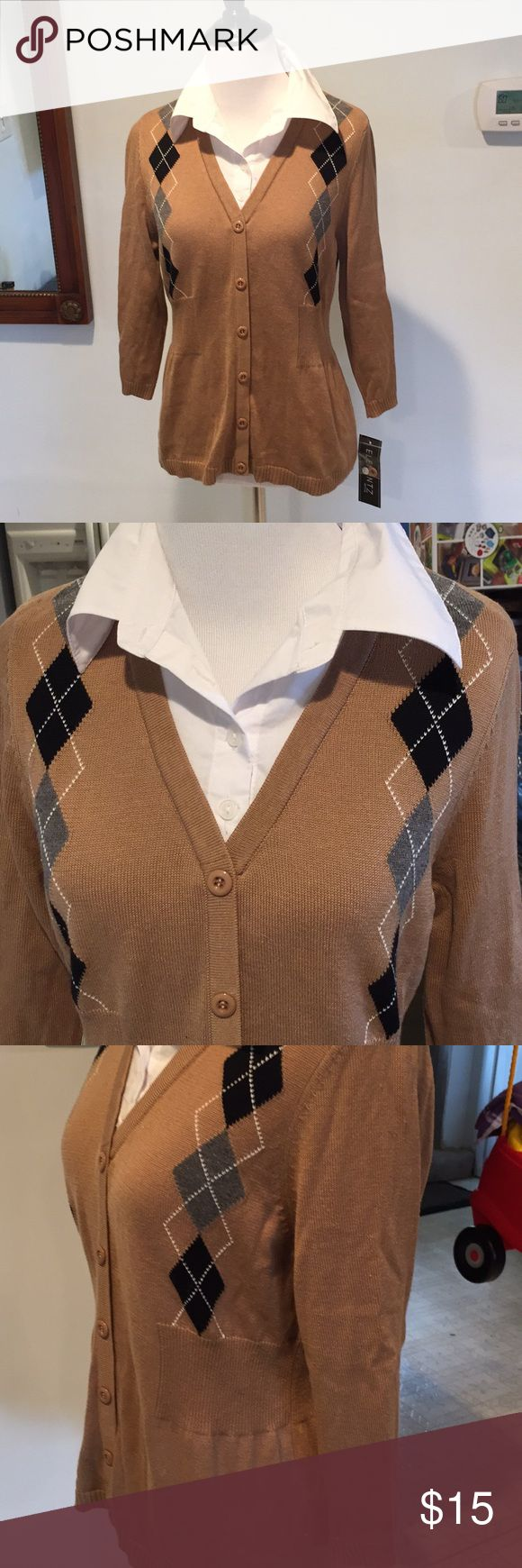 Preppy Career Top NWT Preppy Career Top. Beige Button Down Cardigan with Sewn In white button down shirt. Side and back sweater panels define waist. Easy work top! Elementz Tops