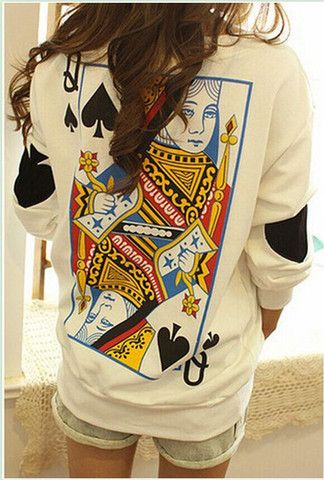 $25.00 | Q spades loose long-sleeved sweater EE1230H