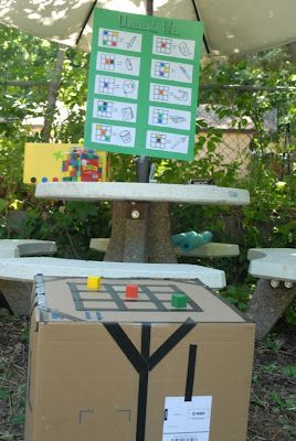 """so MANY great ideas on this blog. Here's just one.-""""mining"""" portion of the party. Hide 160 colored cubes all over the backyard and when the go ahead is given each child is let loose to find and collect 12 cubes and put them in their bags. When each child has found their 12 allotted cubes, they bring them over to the """"crafting table"""" to turn what they have mined into prizes."""