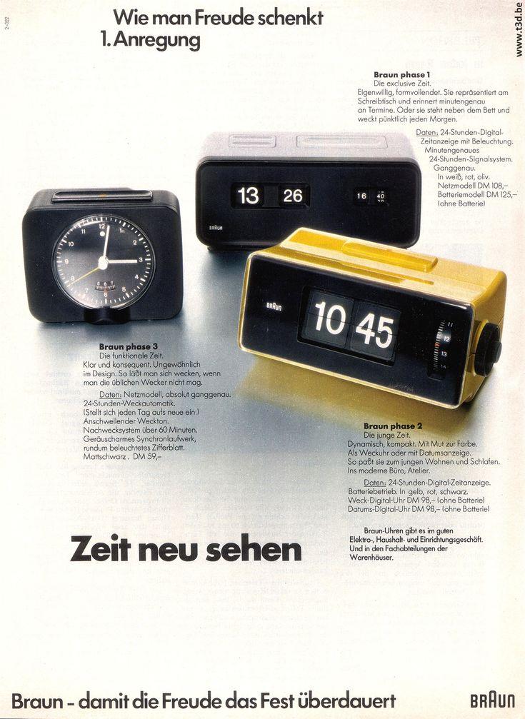 1972 Braun Phase 1-2-3 German Ad. Phase 1, Design by Dieter Rams and Dietrich Lubs in 1971 Phase 2, Design by Dietrich Lubs in 1972 Phase 3, Design by Dietrich Lubs in 1972