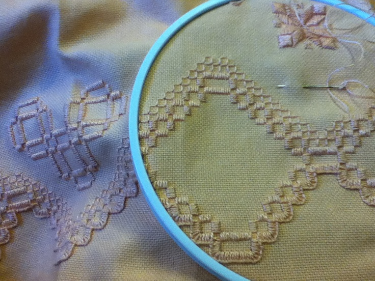 Hardanger Embroidery, step 3: Embellishment. Embroidery by Jennifer Broschinsky.