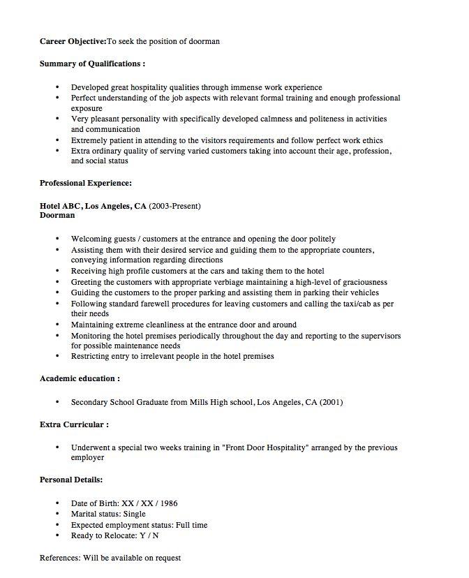 New Doorman Resume Sample 2016 - http\/\/resumesdesign\/new - full stack developer resume