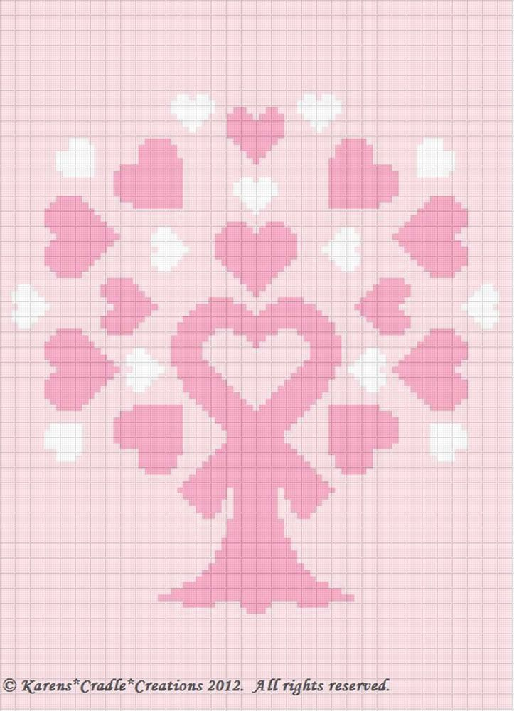 Knitted Pattern Graph Chart Pink Ribbon : Details about Crochet Pattern - BREAST CANCER AWARENESS - PINK RIBBON TREE Gr...
