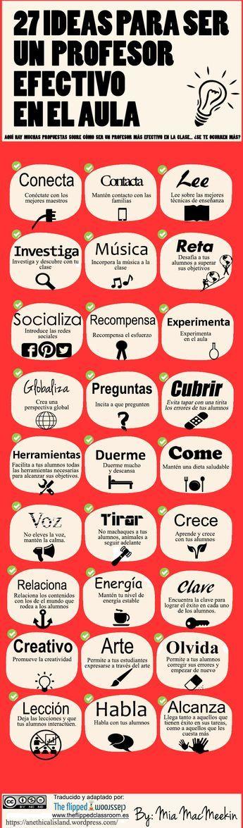 27 ideas para ser un profesor efectivo en el aula #infografia #infographic #education | TICs y Formación