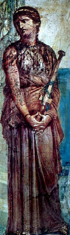 Roman wall-painting found in Pompeii, now preserved in the National Museum of the city of Naples (Italy), representing Medea, moments before the killing of her own children