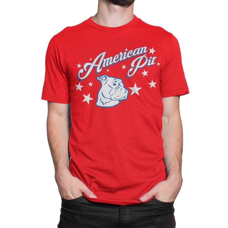 """American Pit"" Red Pitbull T-Shirt"