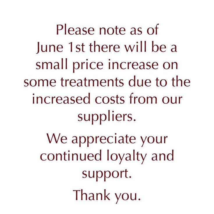 Salon price increase — Please note there will be a small price increase from June 1st 2016.
