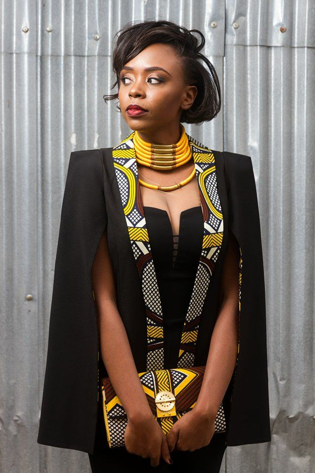 Sophisticated Modern African Motif Dress, Necklace, Purse And, Coat Over Her Black Dress, Beautiful!