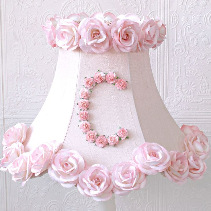 Monogram lamp shade with pink roses