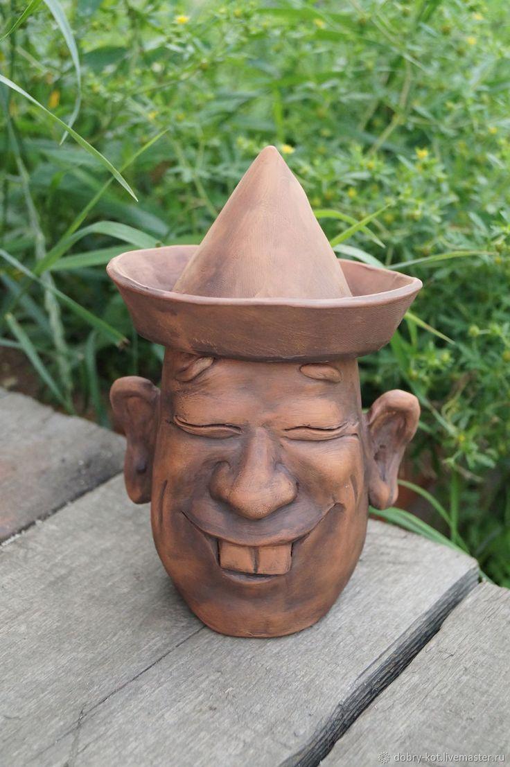 Купить Керамические кружки Байкальские аборигены - коричневый, кружка ручной работы, кружка с крышкой