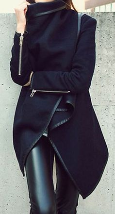 #street #style / black coat + leather