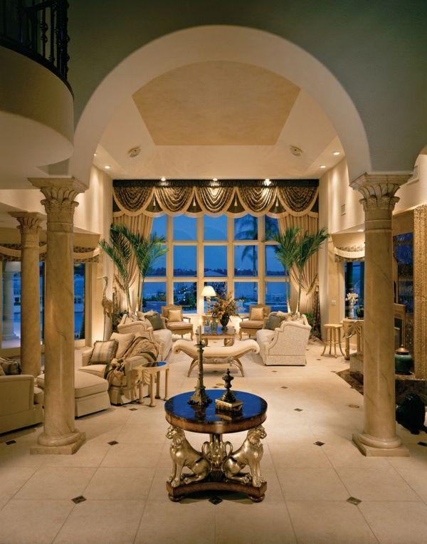 Luxus Wohnzimmer Designideen Hohe Decke Sofa Tisch Rundtisch
