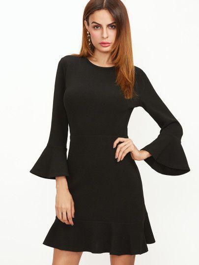 Black Bell Sleeve Ruffle Hem Dress