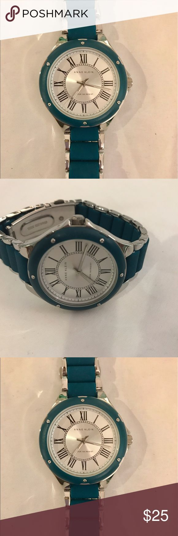 Anne Klein Watch- Silver/Turguoise Band NEVER WORN Anne Klein Watch- Silver/ Turguoise Band NEVER WORN- Will probably need to have links taken out Anne Klein Accessories Watches