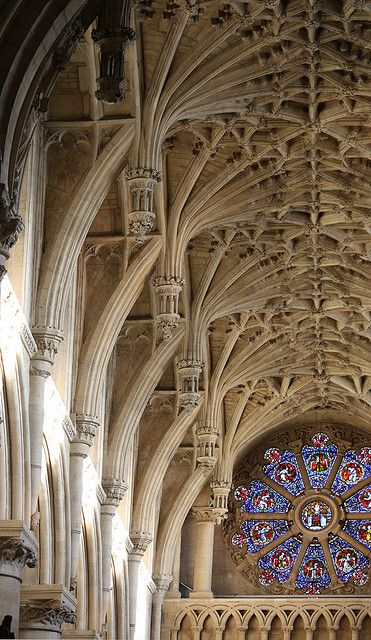 """""""Regarded as the chief architectural glory of Christ Church Cathedral, Oxford, the chancel vault is a sublime example of late medieval rib vaulting. It is a Lierne Pendant vault, built by William Orchard around 1500. It is made up of 12 lantern shaped pendants that hang miraculously suspended in mid-air, and tiny ribs of stone, known as 'liernes', that intersect along the centre of the vault creating large eight-pointed star shapes - the stars of heaven"""" ~ by Lawrence OP, via Flickr"""