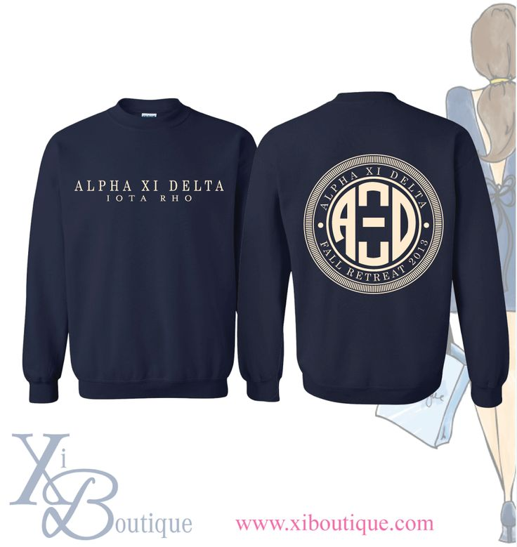 Alpha Xi Delta monogram sweatshirt! This is a custom order from Xi Boutique. Email custom@xiboutique.com to create your own custom shirt for an event.