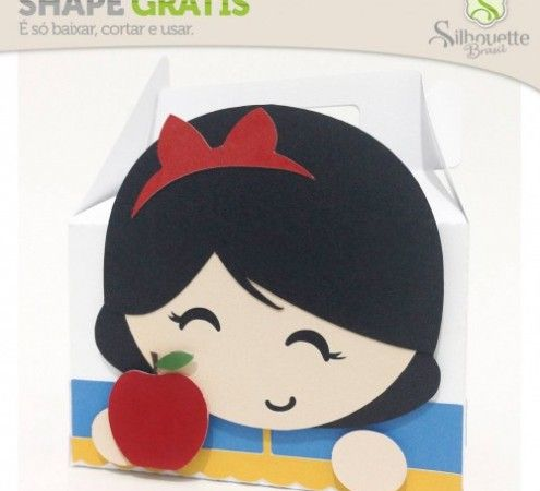 FREE DIY 3D cut file » Shape 26: Caixinha Branca de Neve Cute - from Silhouette Brasil --snowwhite princess party food lunch gable box treat favour gift girl birthday party