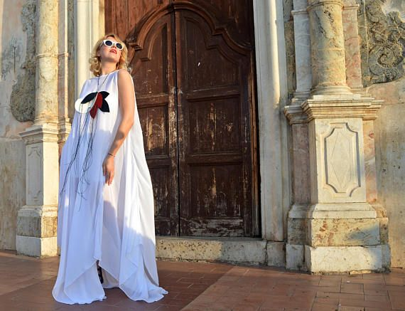 Extravagant White Long Kaftan, White Summer Dress, White Kaftan, Summer Asymmetrical Dress, White Royal Dress TDK252, La Dolce Vita