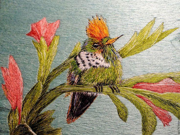 """Купить Художественная гладь. Вышитая картина """"Птичка"""" - зеленый, художественная гладь, художественная вышивка, птица"""