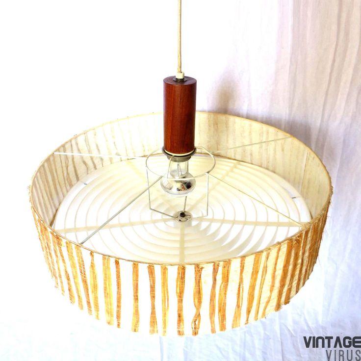 Grote ronde vintage lamp / hanglamp jaren '60 '70 in hoogte verstelbaar Space Age-stijl