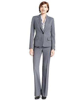 Anne Klein Petite Suit, Jacket, Pants & Tie-Front Blouse - Womens Petite Suits & Separates - Macy's, $187