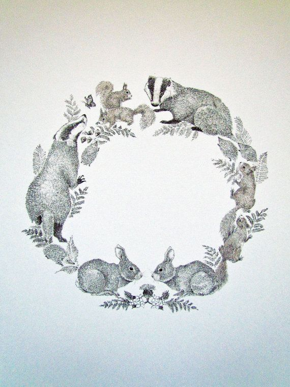 British Woodland Animal Wreath Print on A4