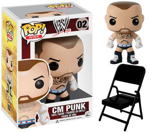 CM PUNK – WWE POP VINYL WWE FUNKO TOY WRESTLING ACTION FIGURE (WITH FOLDING CHAIR – COLORS MAY VARY)