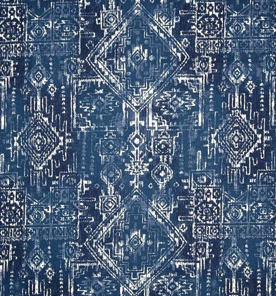 Tribal Indigo Navy Blue Indoor Outdoor Aztec Fabric by the Yard Designer Contemporary Outdoor Fabric Navy Blue Home Decor Fabric S147