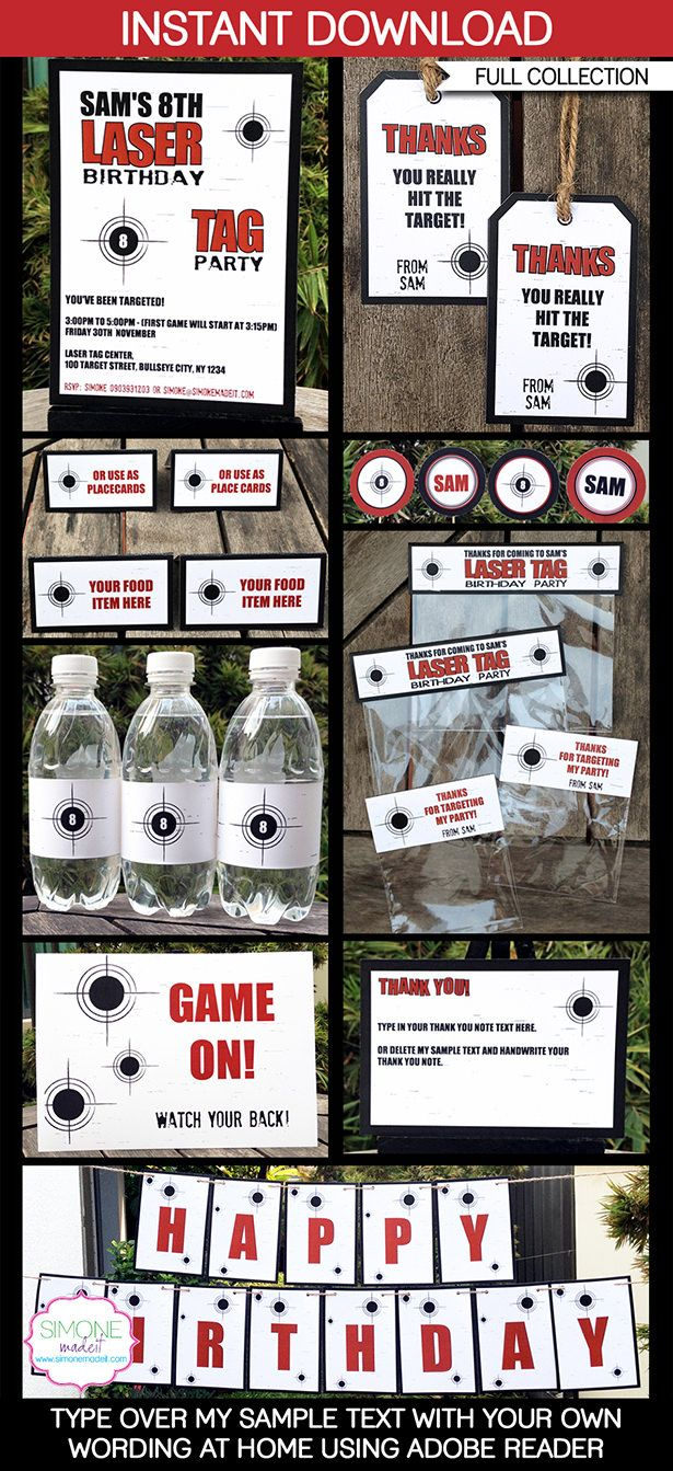 Laser Tag Party Printables, Invitations & Decorations | Editable Birthday Party Theme Templates | INSTANT DOWNLOAD $12.50 via SIMONEmadeit.com