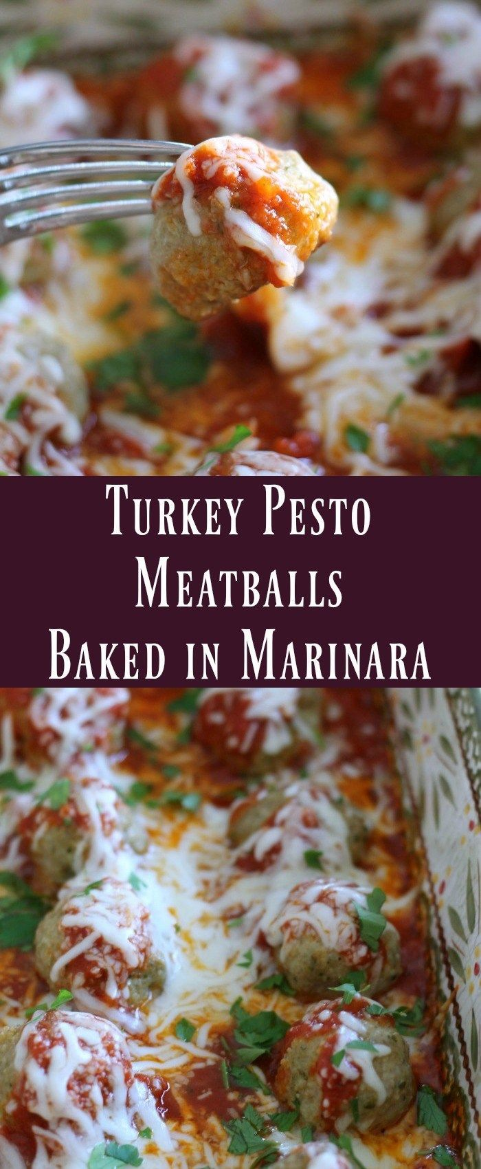 Turkey Pesto Meatballs Baked In Marinara  Tender turkey meatballs mixed with pesto and baked in a marinara sauce. Skip the pasta and enjoy this as a low-carb meal!