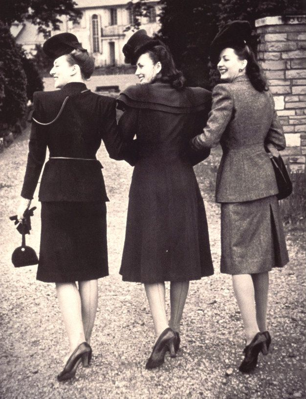 1940's outfits. during that time women wore stiff fabric clothing which were made with their husbands old uniforms or clothing because of the war. they didn't have much supplies of fabric.