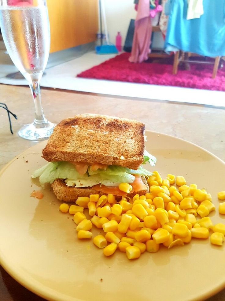 Home made breakfast idea, salmon brie cheese toast bread lettuce and a bit of corn....what u think ?