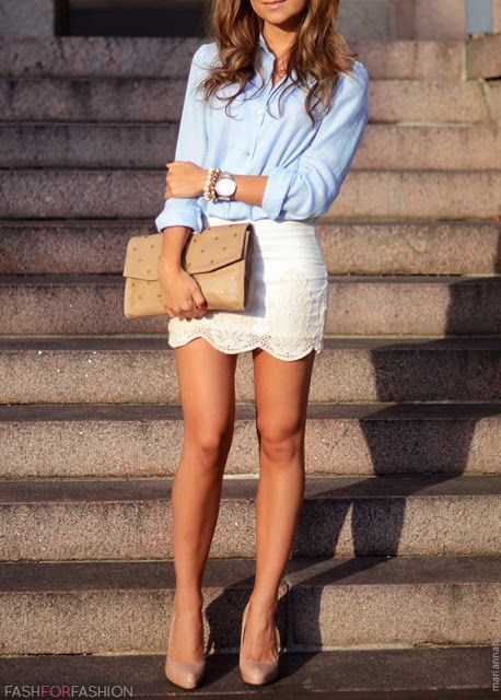 White lace skirt and blue button down. Classy sexy outfit. #summer #fashion