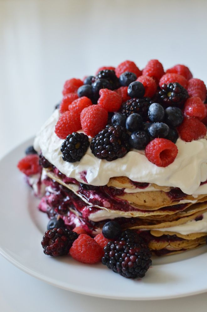 pancake cake with berries and cream, you're alternative birthday cake :)