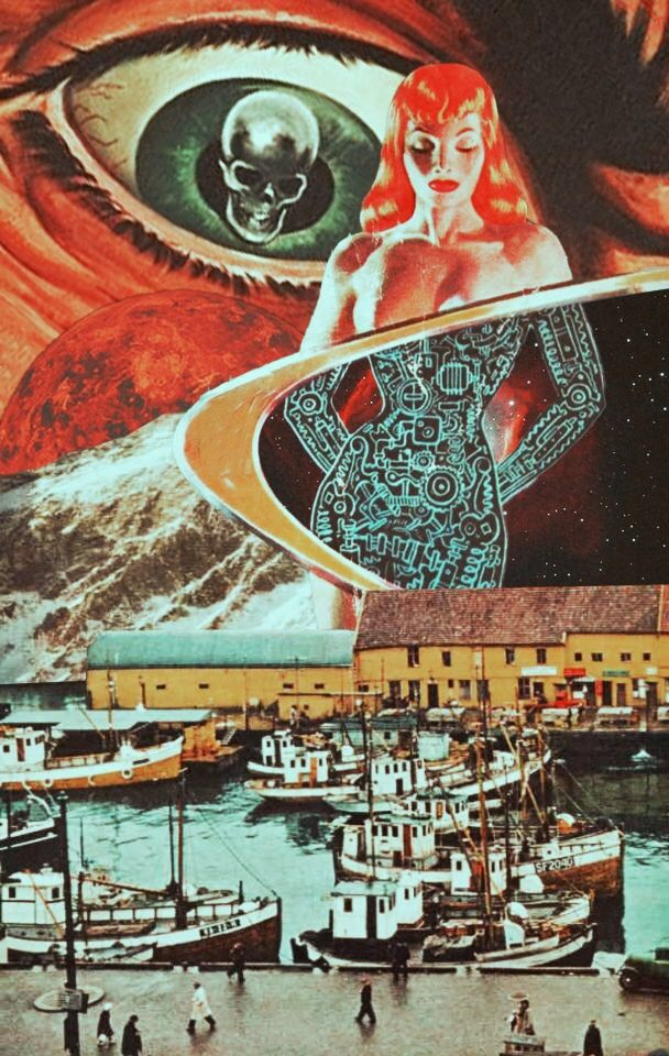 The Harbor Of Bionic Dream. Surreal collage art.