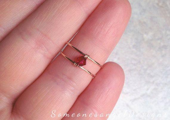 Anillo de oro Midi medio anillo de dedo por SomeonesangelDesigns