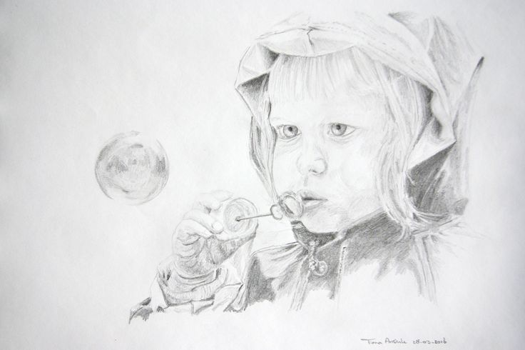 4-Year old girl blowing a bubble, pencil drawing.