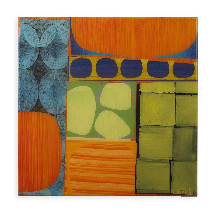 Jonathan adler rex ray x 16 artwork original green orange mixed media collage