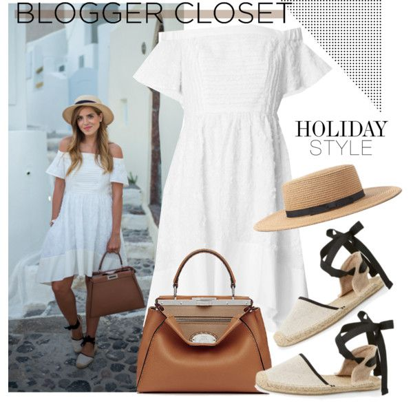 Blogger Closet: White dress&Espadrille sandals&Satchel bag&Boater hat by hamaly on Polyvore featuring Fendi, Forever 21, StreetStyle, BloggerStyle and whitedress