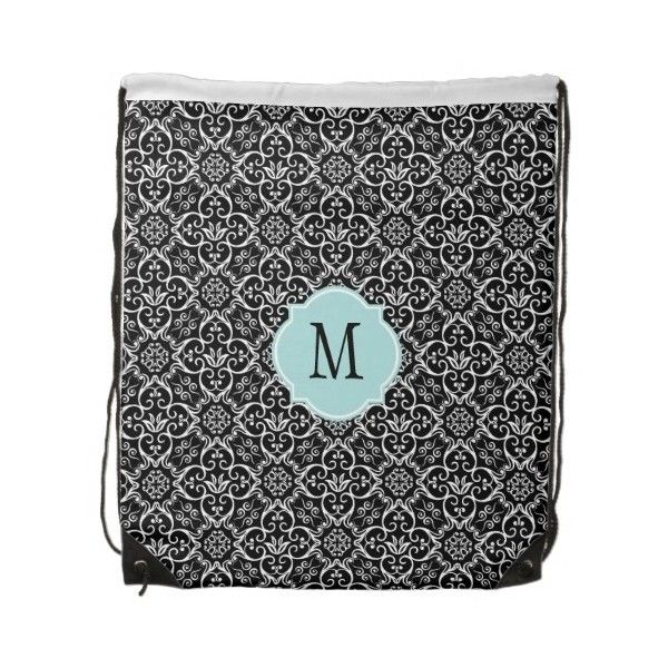Black & White Damask Monogram Draw String Bag Cinch Bags ($18) ❤ liked on Polyvore featuring bags, handbags, monogrammed bags, damask bags, black and white handbags, black and white purse and monogrammed purses