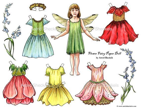 Flower Fairy Paper Doll by AstridSheckelsArt on Etsy, $5.00