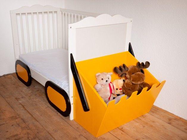 Kinderbetten - Baggerset für Kinderbett Spielbett Bagger Bett - ein Designerstück von Kanaholz bei DaWanda