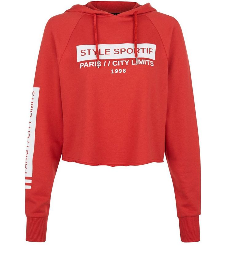 Red Style Sportif Cropped Hoodie  | New Look