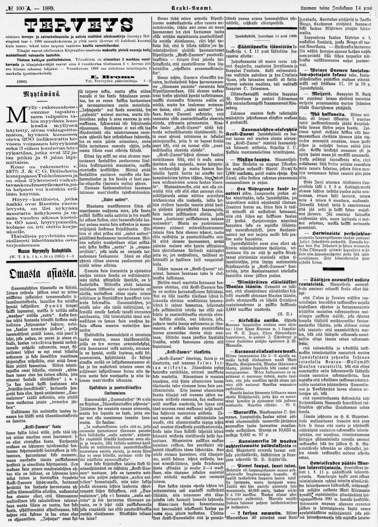 14.12.1889 Keski-Suomi no 100 - Sanomalehdet - Digitoidut aineistot - Kansalliskirjasto