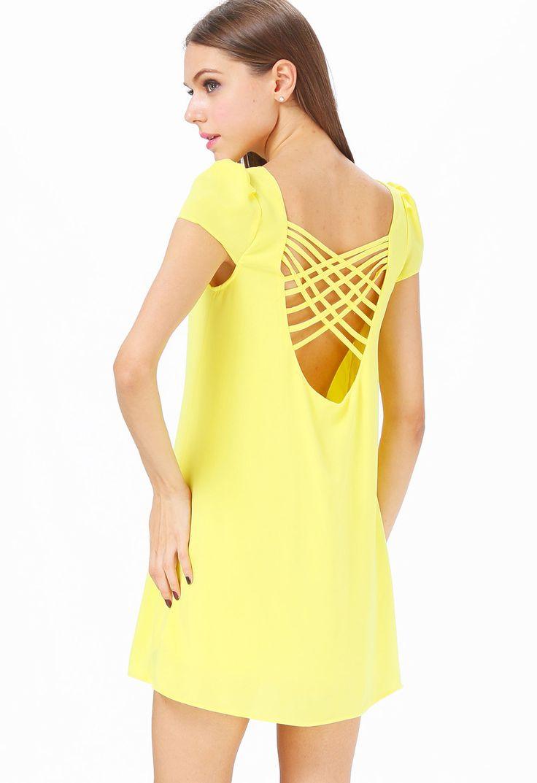 Vestido suelto espalda abierta manga corta-amarillo 11.76