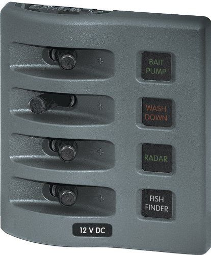 Blue Sea Systems WeatherDeck 12V DC Waterproof Fuse Panel - Gray, 4 Positions Read more  at the image link.