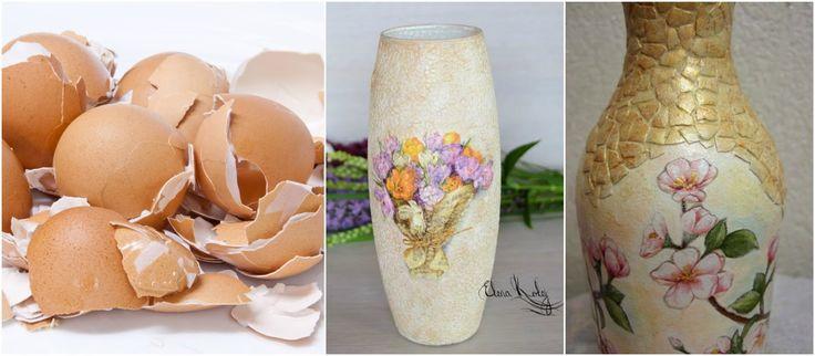 Recicla cascarones de huevo y decora jarrones de vidrio