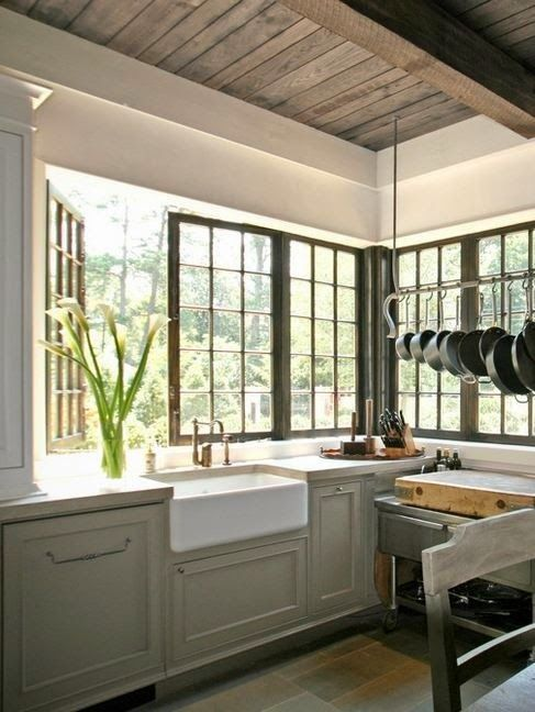 Prettiest kitchen windows ever - greige