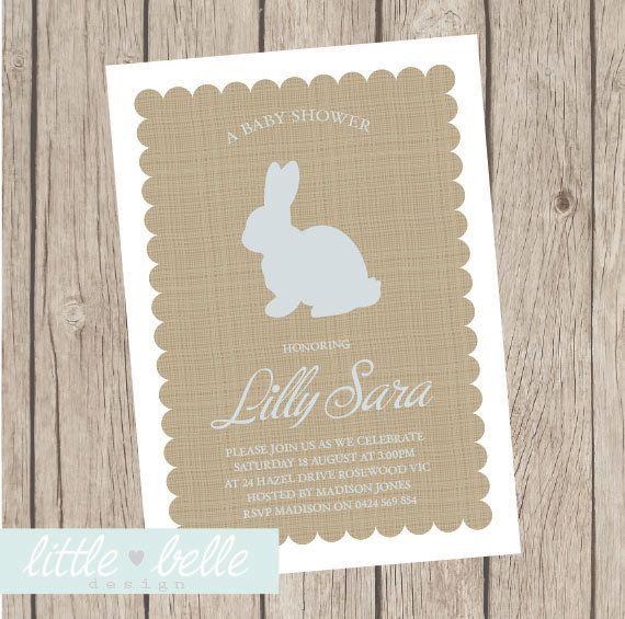 Little Bunny Baby Shower Invitation by LittleBelleDesign on Etsy, $9.99 looks like burlap